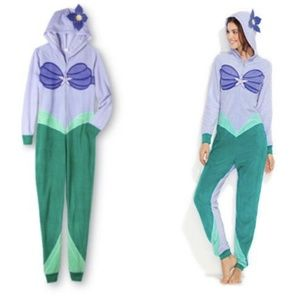 EUC LITTLE MERMAID ARIEL ONESIE ZIP UP PAJAMA